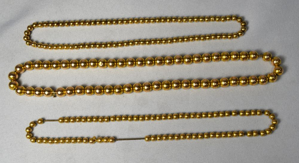THREE 14KT YELLOW GOLD BEAD NECKLACES:
