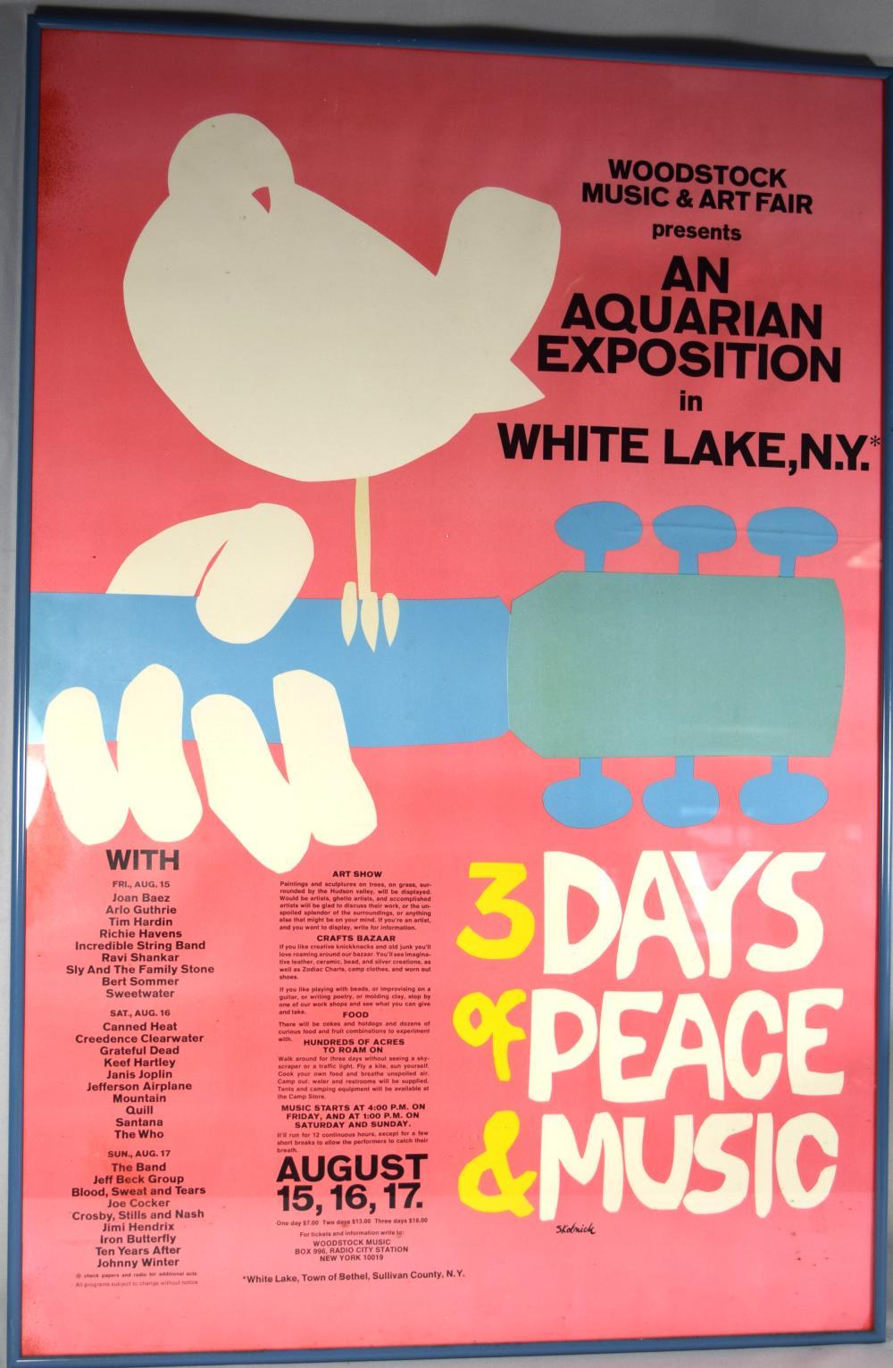 ORIGINAL 1969 WOODSTOCK MUSIC FESTIVAL POSTER: