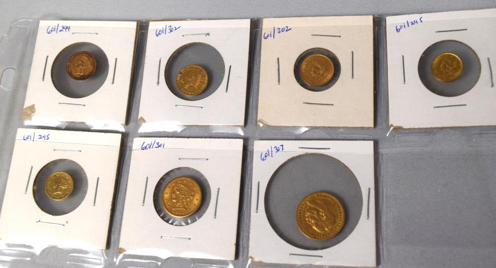 FIVE ONE DOLLAR. ONE 2 ½ DOLLAR, GERMAN 10 MARK GOLD COINS: