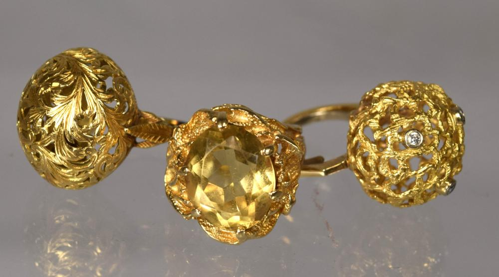 TWO 18KT & ONE 14KT YELLOW GOLD DOME RING: