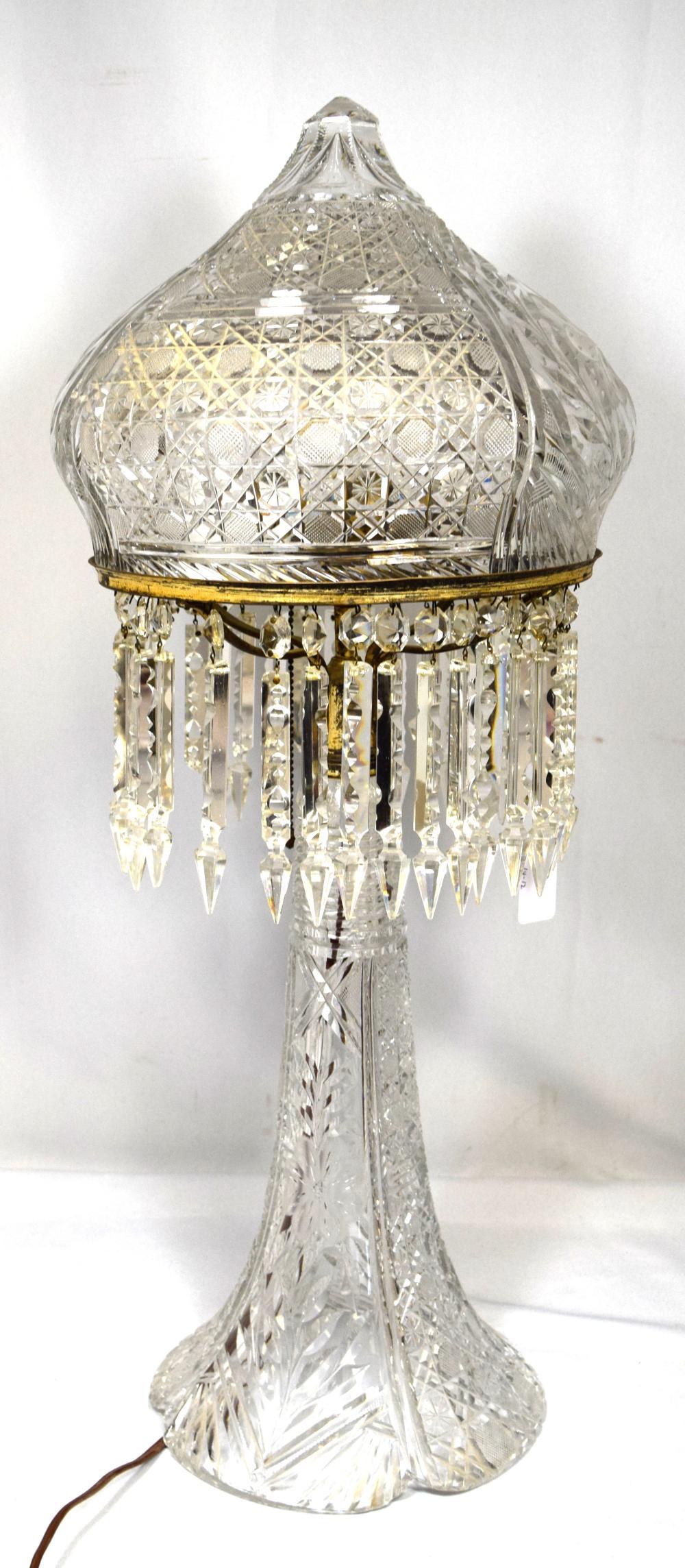 MILLER AMERICAN BRILLIANT CUT GLASS LAMP: