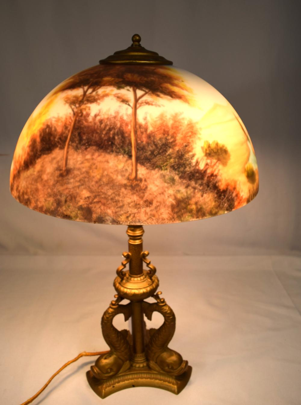 PAIRPOINT DOLPHIN BASE LAMP  NEWER REVERSE PAINTED SHADE: