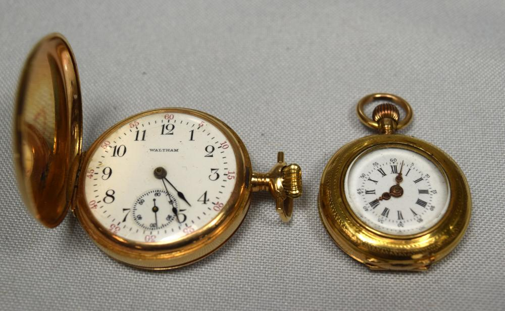 TWO 14KT GOLD POCKET WATCHES: