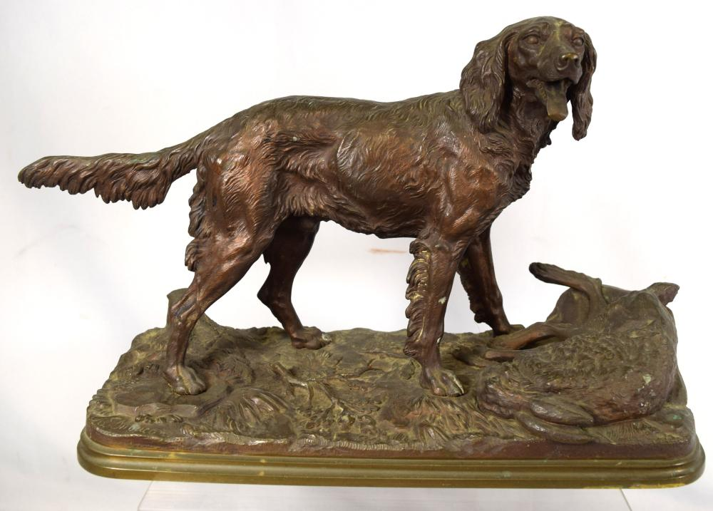 19TH C ALFRED DUBUCAND BRONZE SCULPTURE HUNTING DOG & RABBIT: