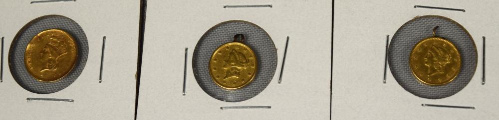 THREE U.S. GOLD COINS: