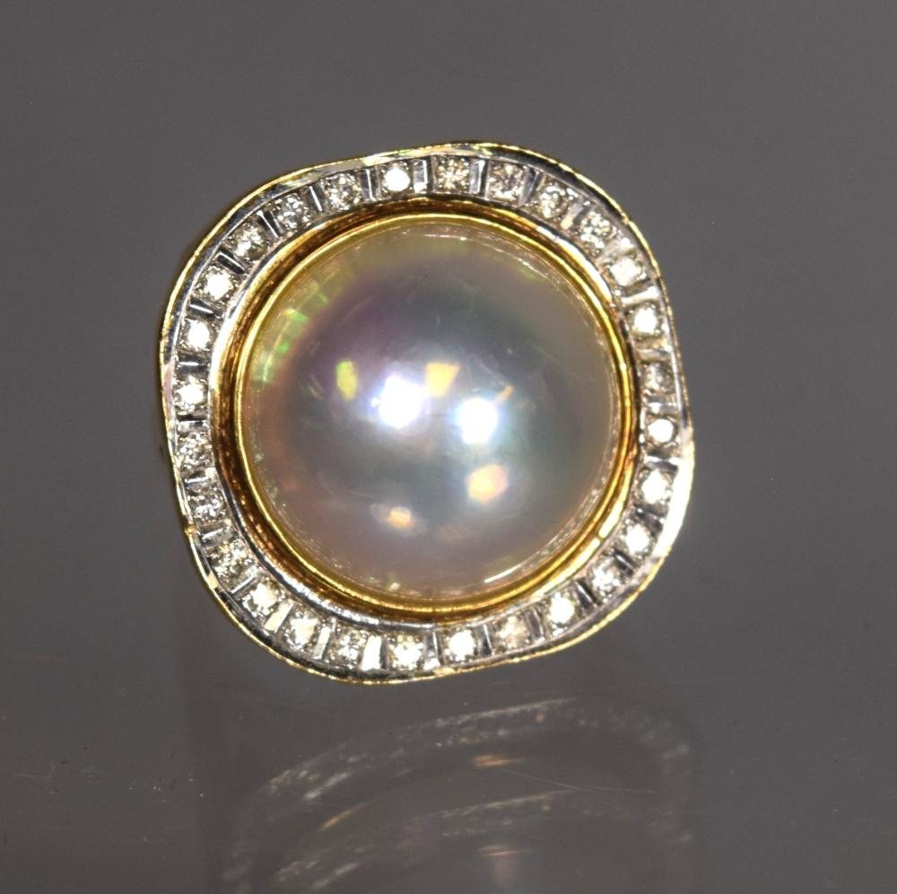 MABE PEARL & DIAMOND RING: