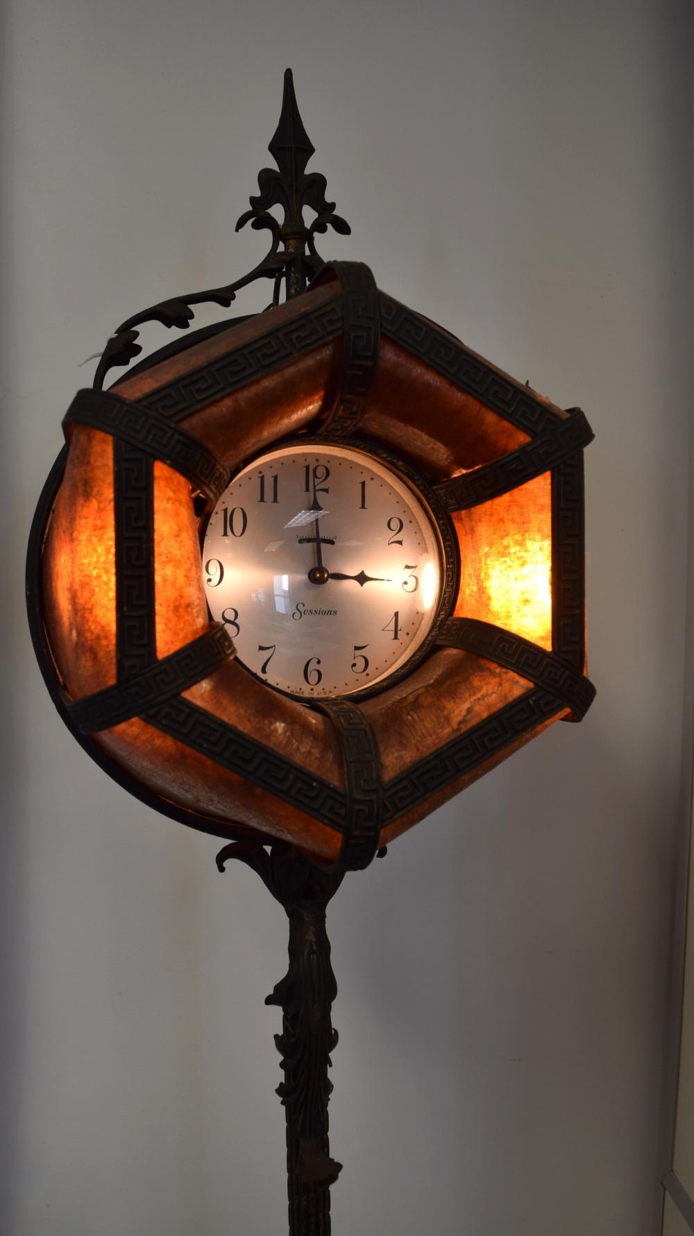 SESSIONS ARTS & CRAFTS MICA SHADE FLOOR LAMP & CLOCK:
