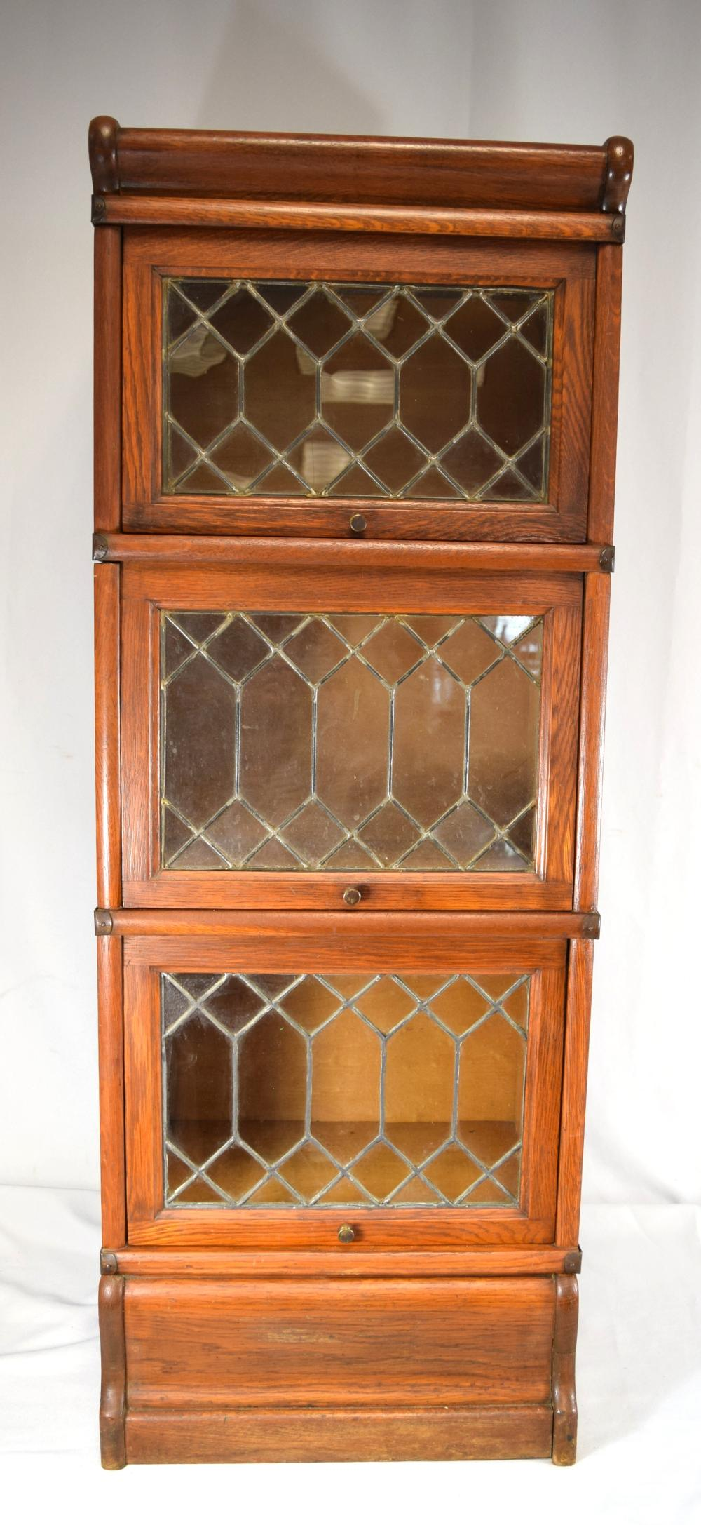 HALF SIZE MACEY'S LEADED GLASS  BANNISTER STACKABLE BOOKCASE: