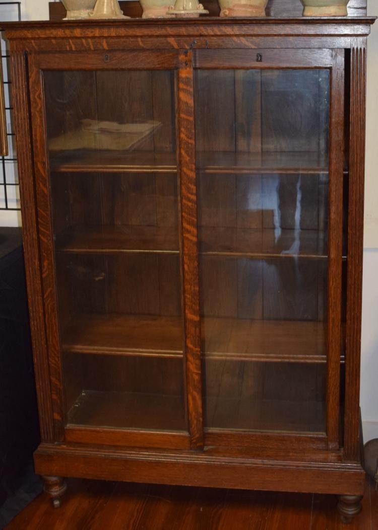 Oak sliding glass door bookcase for 4 sliding glass door