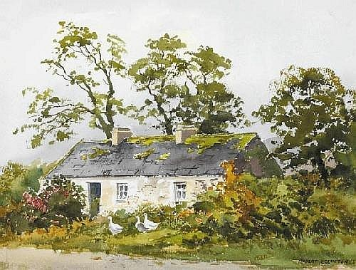 Robert Egginton (b.1943) THE ROAD TO LETTERFRACK, CONNEMARA and COTTAGE WITH GEESE NEAR WESTPORT, COUNTY MAYO (A PAIR) signed lower left and lower