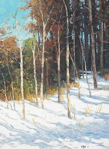 Brett McEntagart RHA (b.1939) WINTER SAPLINGS signed with initials and dated [2001] lower right; inscribed label on reverse oil on board 51 by