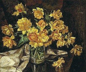 Paul Nietsche 1885-1950 ORANGE DOUBLE TULIPS signed and dated [1935] upper right; inscribed, dated and signed again on reverse oil on canvas 51 by