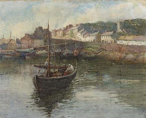 Lady Kate Dobbin WSCI (1868-1955) FIGURES IN A BOAT IN ROUNDSTONE HARBOUR, c.1909-1914
