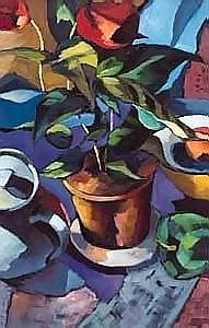 Aidan Gaffney STILL LIFE (FLOWER POT) oil on canvas 74 by 48cm., 29 by 19in. Aidan Gaffney is a Belfast artist who presently teaches at