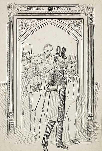 Charles Stewart Parnell with Irish MP's - drawing by Francis Carruthers Gould (1844-1925)
