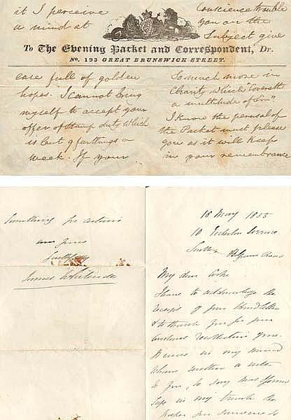 1855 (18 May) letter from James Whiteside MP to JR Cooke, Dublin with political news and another leaflet.