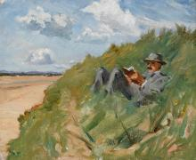Estella Frances Solomons HRHA (1882-1968) SEAMUS READING IN THE SAND DUNES