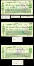 1943 Munster and Leinster Bank cheques to Irish politicians from Ireland's biggest bookmaker, PJ Kilmartin.