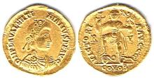 Roman Empire. Valentinian III, 425-455 AD, gold solidus,
