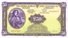 Central Bank 'Lady Lavery' Fifty Pounds, 4-4-77, a sequential pair.