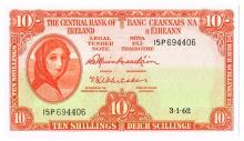 Central Bank 'Lady Lavery' Ten Shillings, 3-1-62, sequential run of ten
