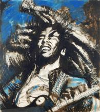 Rolling Stones, Ronnie Wood, Get Up Stand Up (Blue), Limited Edition screen print of Bob Marley.