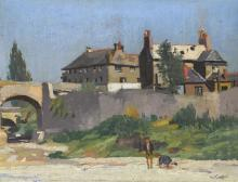 Maurice MacGonigal PPRHA HRA HRSA (1900-1979) FIGURES ON A RIVERBED