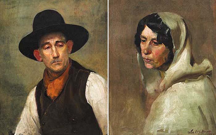 Sean O'Sullivan RHA (1906-1964) MAN AND WOMAN OF