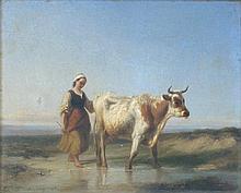 Edmond Jean-Baptiste Tschaggeny (Belgian, 1818-1873) PASTORAL SCENE, 1845