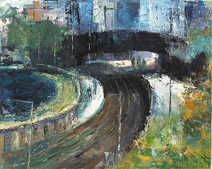 Donald Teskey RHA (b.1956) FOOTBRIDGE AT SEAPOINT,