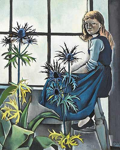 Patrick Swift (1927-1983) GIRL WITH BLUE THISTLES