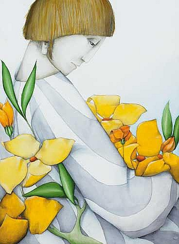 Barry Castle (1935-2006) GIRL WITH YELLOW FLOWERS,