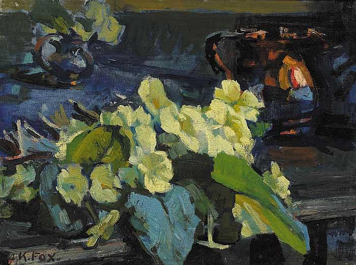 Kathleen Fox (1880-1963) PRIMROSES, 1952 signed