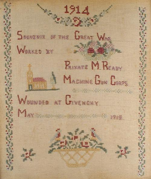 1914-18: First World War wounded soldiers sampler by Pte. M. Ready (3)