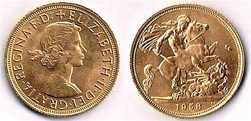 Elizabeth II gold sovereigns, 1958 (5)