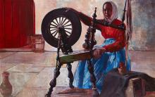 Maurice MacGonigal PRHA HRA HRSA (1900-1979) WOMAN AT A SPINNING WHEEL, c.1932