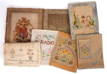 1771 Needlework sampler and collection of needlework. (8)