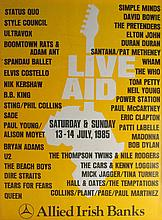 1985 Live Aid poster signed by Bob Geldof