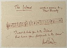 Paul Brady: Handwritten and signed lyrics for 'The Island'