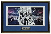 Dire Straits Platimum Disc award and signed print. (2)