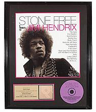 Jimi Hendrix Gold Disc Award and collection of photographs and prints.