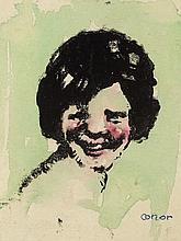 William Conor OBE RHA RUA ROI (1881-1968) LAUGHING GIRL and SANTA CLAUS, 1961 (A PAIR)