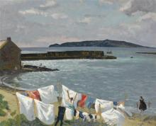 Patrick Leonard HRHA (1918-2005) VIEW OF LAMBAY ISLAND FROM LOUGHSHINNY, COUNTY DUBLIN