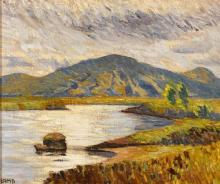 Charles Vincent Lamb RHA RUA (1893-1964) WEST OF IRELAND LANDSCAPE WITH MOUNTAINS AND LOUGH