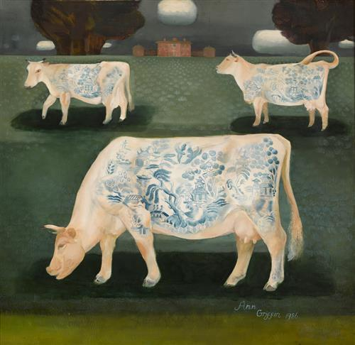 Ann Griffin-Bernstorff (20th/21st Century) CATTLE IN A FIELD, 1986