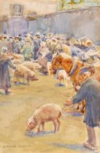 Norman Garstin (1847-1926) FAIR SCENE WITH CATTLE AND PIGS