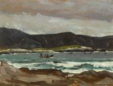 Maurice MacGonigal PPRHA HRA HRSA (1900-1979) CURRACHS FISHING (OFF ACHILL), c. 1936