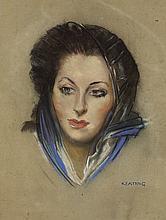 Seán Keating PRHA HRA HRSA (1889-1977) PORTRAIT OF A WOMAN WITH HEADSCARF