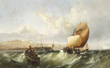 Edwin Hayes RHA RI ROI (1819-1904) SHIPPING IN SQUALL OFF DOVER