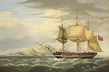 George Mounsey Wheatley Atkinson (1806-1884) H.C.S. WARREN HASTINGS OFF ASCENSION ISLAND